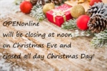 OPENonline Christmas Holiday Hours
